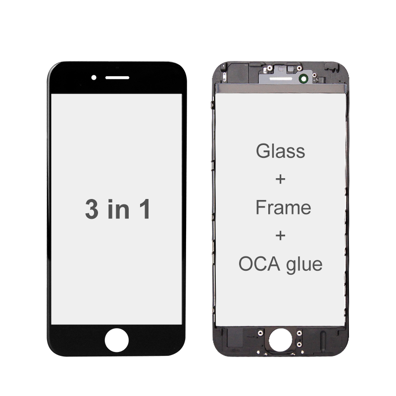 3 IN 1 Glass with Frame & OCA Glue Pre-Installed (Premium) for iPhone Screen Refurbishing