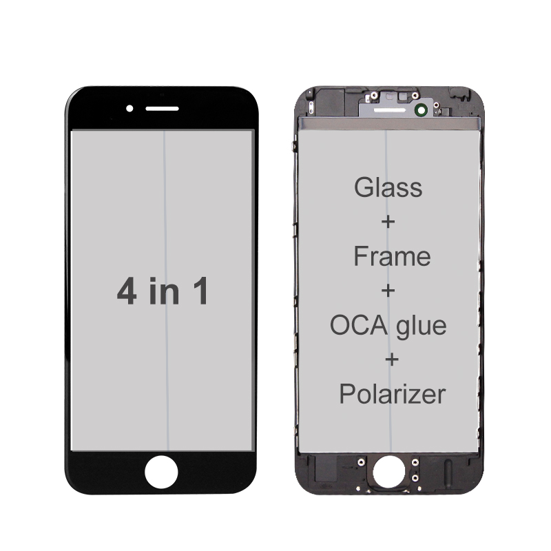 4 IN 1 Glass / Frame / OCA Glue / Polarizer Film Pre-Installed (Premium) for iPhone screen refurbishing